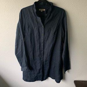 Flax Navy Blue Linen Tunic